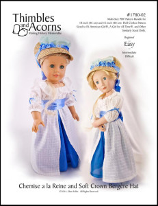 Click Here to find Thimbles and Acorns Chemise a la Reine pattern at Pixie Faire. Fits American Girl and A Girl for All time Dolls.