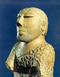 Statue of a prince from Indus Valley. Note the similarity in their mode of dress.