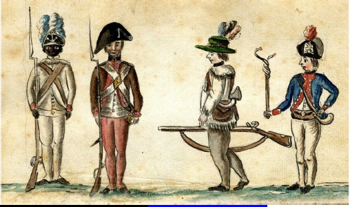 Watercolor by Jean Baptiste Antoine de Verger of a riflemen at the Siege of Yorktown in 1781