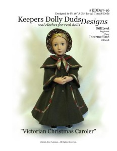 Victorian Christmas Caroler, Keepers Dolly Duds Designs Pattern #KDD-07, 16-inch