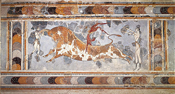 The Bull-Leaping Fresco from the Great Palace at Knossos, Crete