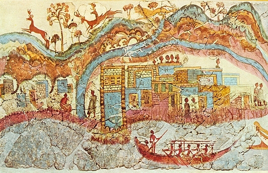 Minoan Town, Fresco from Thera