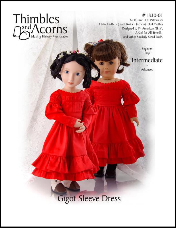 Gigot Sleeve Dress, Thimbles and Acorns Pattern #1830-01