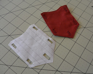 Buttonhole template for the Civil War Shirt Bib.
