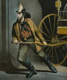 Currier and Ives showed New York firefighters in their red flannel bib front shirts in an 1858 series on the American fireman.