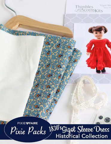 Blue Voile print Gigot Dress Kit