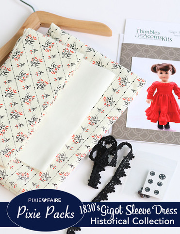 Cream Roller Print Gigot Sleeve Dress Kit