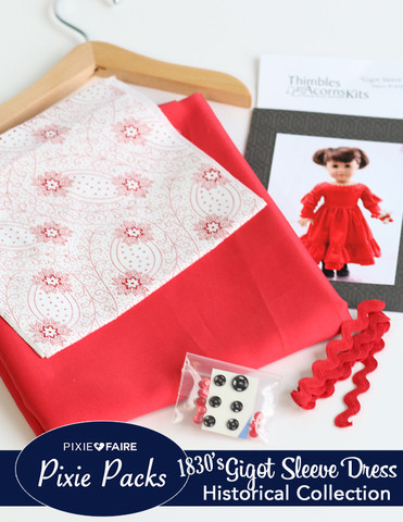 Red Cotton Sateen Gigot Sleeve Dress Kit