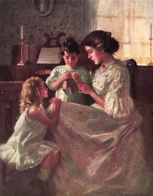 Francis Day (American artist, 1863-1942) The First Stitch