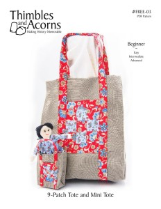 9-Patch Tote, Thimbles and Acorns Pattern #FREE-04