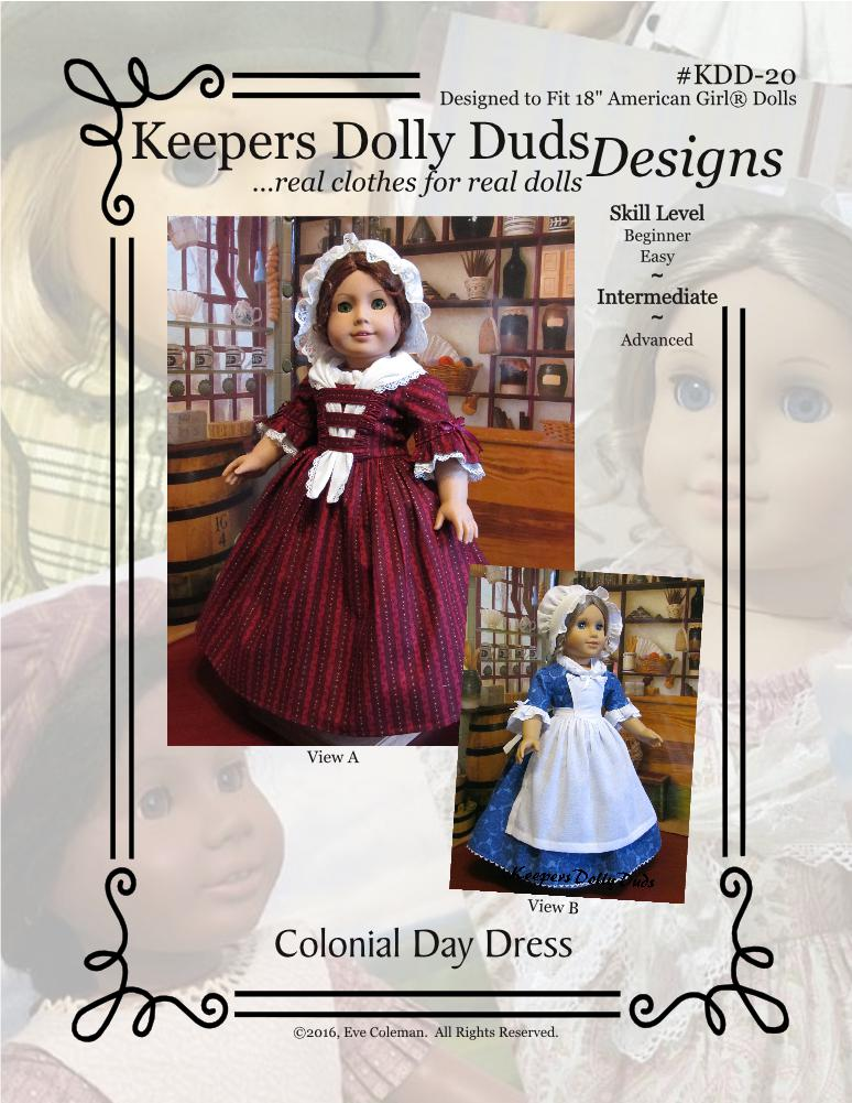 Colonial Day Dress, Keepers Dolly Duds Designs Pattern #KDD-20
