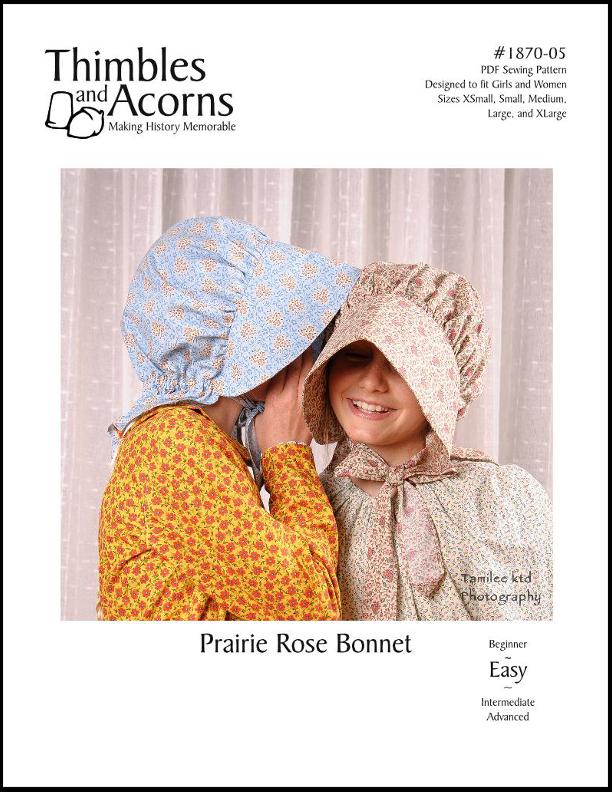Prairie Rose Bonnet, Thimbles and Acorns Pattern #1870-05
