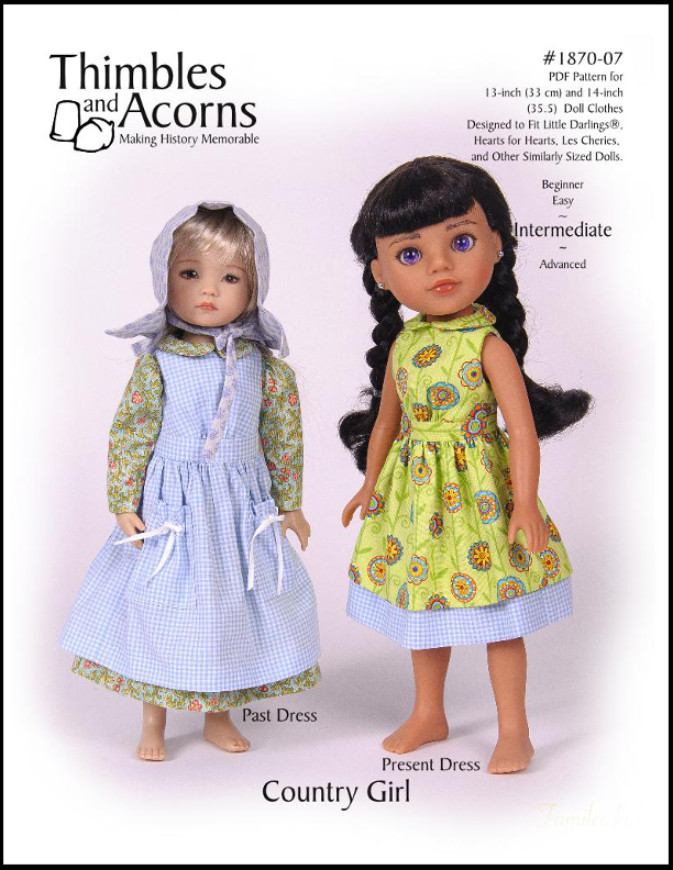 Country Girl, Thimbles and Acorns Pattern #1870-07 for 13-14-inch dolls such as Little Darlings and Hearts for Hearts