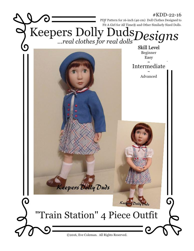 Train Station, Keepers Dolly Duds Designs Pattern #KDD-22-16 for A Girl for All Time dolls
