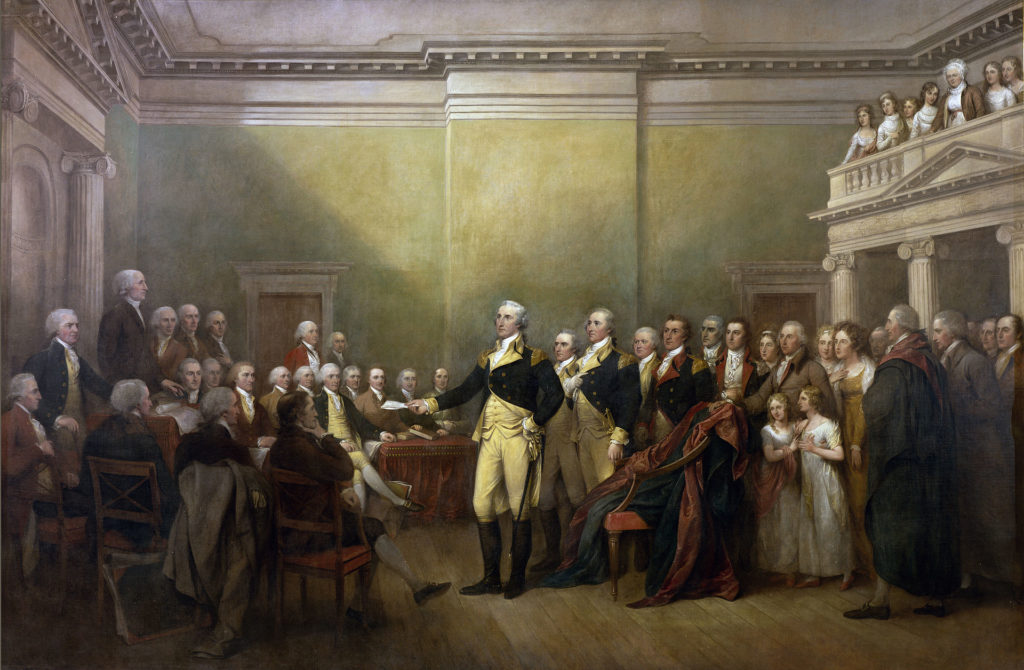 General George Washington Resigning His Commission, by John Trumbull, Capitol Rotunda (commissioned 1817). Public Domain.